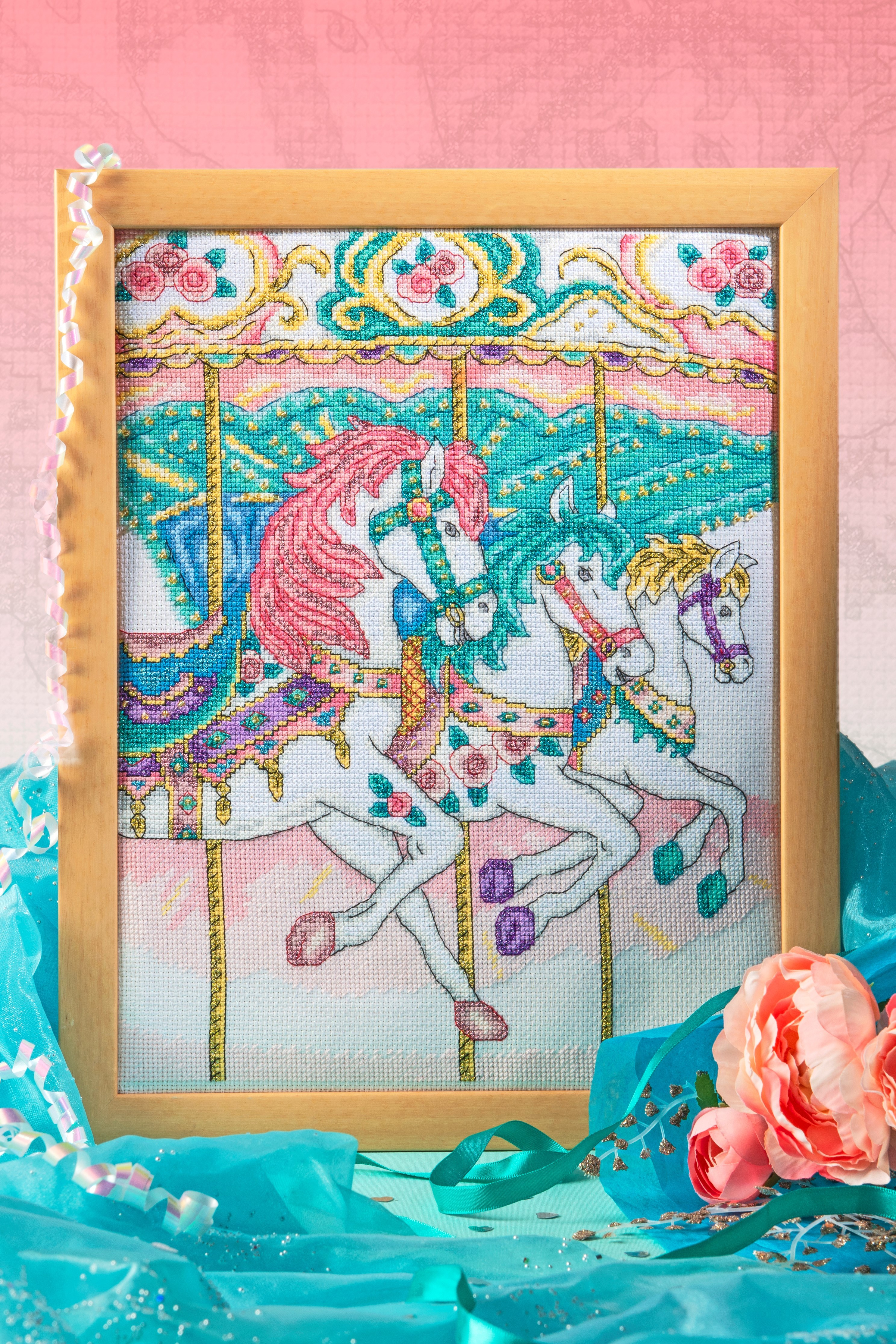 Cross Stitcher Project Pack - Carousel Horses XST340