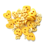 Craft Buttons - Yellow Hearts (2.5g Pack)