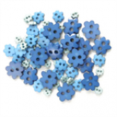 Craft Buttons - Blue Flowers (2.5g Pack)