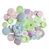 Craft Buttons - Assorted Pastels (60g Pack)