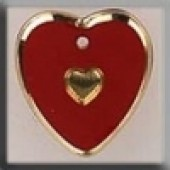Glass Treasures 12094 - Medium Heart Red/Gold