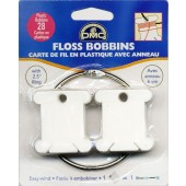 6105 - 28 DMC Plastic Floss Bobbins With Metal Ring - Pack