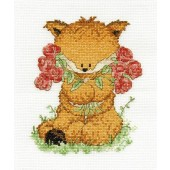 BK1197 - Woodland Folk - Toby Fox with Roses Cross Stitch Kit
