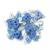 Craft Buttons - Blue Hearts (2.5g Pack)