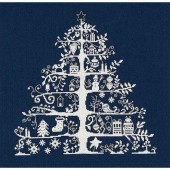 BKJPBK557N - Navy Christmas Tree Cross Stitch Kit