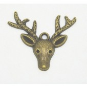 Stag Head Bronze Tone Charms 3 Pack