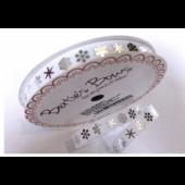 BTB052 - 9mm Silver Snowflake on White Grosgrain Ribbon