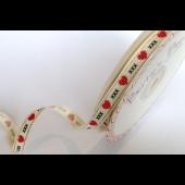 BTB082 - 9mm Polka Dot Hearts & Kisses Cream Grosgrain Ribbon