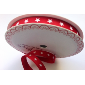 BTB136 - 9mm White Stars on Red Grosgrain Ribbon
