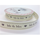 BTB144 - 16mm Mr & Mrs Ivory Grosgrain Ribbon