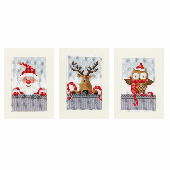 Vervaco Counted Cross Stitch Kit Christmas Buddies Greeting Cards Set of 3