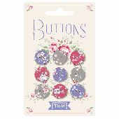 Plum Garden Fabric Covered Buttons 15mm