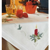 Rico Christmas Candle Embroidery Table Cloth Kit