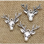 Stag Head Silver Tone Charms 3 Pack