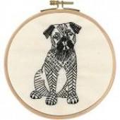 TB107 DMC Printed Embroidery Kit - Doug The Pug