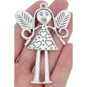 Large Fairy Girl Silver Tone Charm