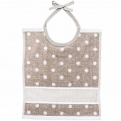 Rico Baby Tie on Bib - Beige/White (30 x 34cm)