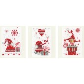 Vervaco Counted Cross Stitch Kit Christmas Gnomes Greeting Cards Set of 3