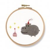 DMC Birthday! Hippo Printed Embroidery Kit - TB127