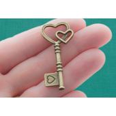 Key Antique Bronze Charms - 3 Pack