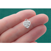 Made with Love Heart Silver Tone Charms - 4 Pack