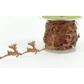 EX32 - Brown Cut-Out Reindeer Shapes Ribbon