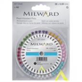 Milward Pearl Headed Pins - 38mm, 40 per Pack