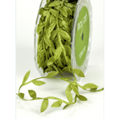 BY16  - Olive Green Cut-Out Leaf Shapes Ribbon