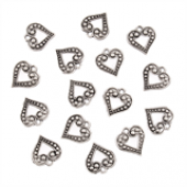 Open Heart Silver Tone Charms - 3 Pack