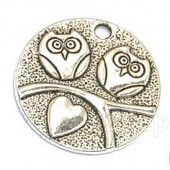 Round Owl Silver Tone Charms - 2 Pack