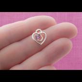 Pink Rhinestone Heart Silver Tone Charms - 3 Pack
