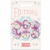 Plum Garden Fabric Covered Buttons 20mm