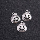 Pumpkin Silver Tone Charms 3 Pack