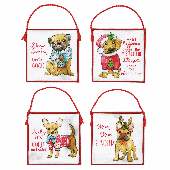 Dimensions Ornament Set Christmas Pups Cross Stitch Kit