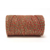 Baker's Twine Red & Emerald with Gold Sparkle 100m Roll