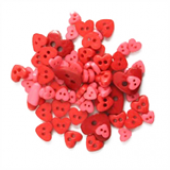 Craft Buttons - Red Hearts (2.5g Pack)