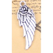 Rose Angel Wing Silver Tone Charms - 3 Pack