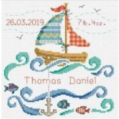 DMC Sail Boat Baby Cross Stitch Kit BK1877
