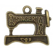 Singer Sewing Machine Bronze Tone Charms 3 Pack
