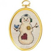 Janlynn 021-1792 -  Snowman and Bluebird Cross Stitch Kit