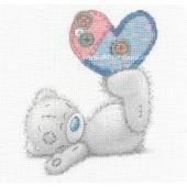 DMC BL1141/72 - Me to You Tatty Teddy Patchwork Heart Printed Cross Stitch Kit