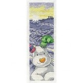 BL1045/64- The Snowman And the Snow Dog The Snowdog Bookmark Cross Stitch Kit