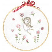 TMREMB52 - Girl in a Red Dress Printed Embroidery Kit