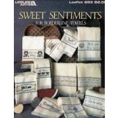 Leisure Arts Sweet Sentiments for Borderline Towels Cross Stitch Chart Leaflet