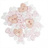 Craft Buttons - White Hearts (2.5g Pack)