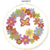 DMC Floral Wreath Cross Stitch Kit - BK1850