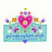 DMC You Make My Heart Smile Cross Stitch Kit - BK1658