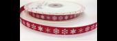 BTB051 - 9mm White Snowflake on Red Grosgrain Ribbon