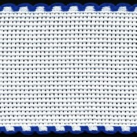 2in / 5cm White / Royal Blue Edged Aida Band - 1m
