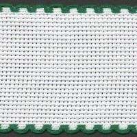 2in / 5cm White / Green Edged Aida Band - 1m